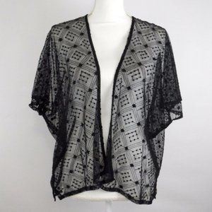 Chico's Black Open Front Embroidered Mesh Cardigan